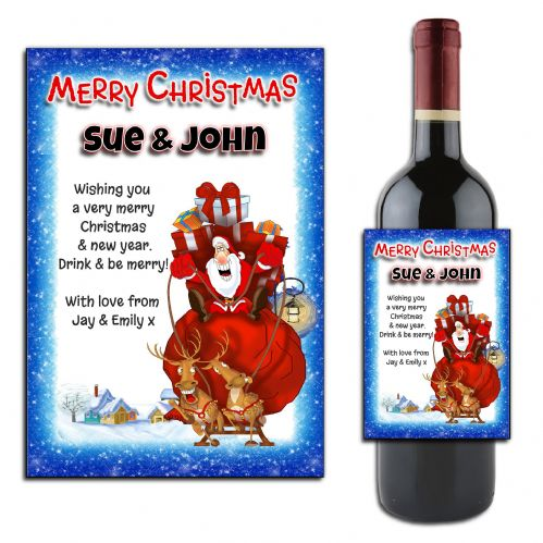 Personalised Christmas Santa Wine or Champagne Bottle Label N175